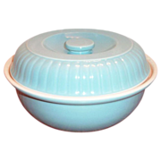 "Hall China & Forman Family Products ""Ribbed Buffet"" Blue Stoneware Casserole - Marked"
