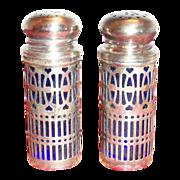 SOLD Silver Plate Filigre Design Holders with Cobalt Blue Glass Inserts Salt & Pepper Set - Ma