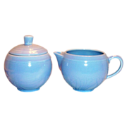 SALE Vernonware: Modern California Azure Blue Stoneware Sugar & Creamer Set - Marked