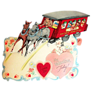 "SALE Larger Vintage Mechanical ""Please Be My Valentine Today!"" Trolley Valentine"
