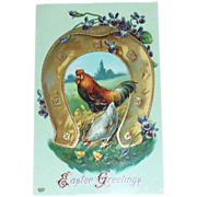 Easter Greetings: Rooster & Large Horseshoe Postcard - Germany