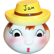 California Pottery: Anthropomorphic Porcelain Head Jam Jar - Marked