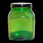 Owens Duraglas Green Transparent Square Glass Jar