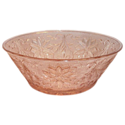 Tiara Crystal Pink/Peach Sandwich Glass Salad Serving Bowl