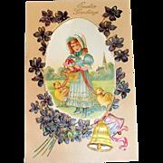 "Easter Greetings Postcard ""Girl With Chicks On Leash"""