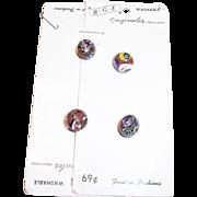 Four Vintage B.G.E. Originals Murano Glass Buttons On Original Cardboard Plackets