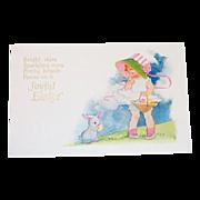 """Joyful Easter"" Little Girl in Pink Stripe Bonnet & Bunny Postcard"