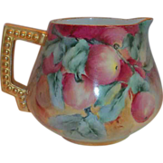 SALE Hohanzollern Hand Painted Peaches & Leaf Design China Pitcher