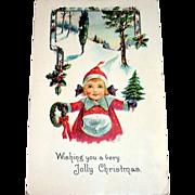 Vintage Wishing You A Very Jolly Christmas Postcard