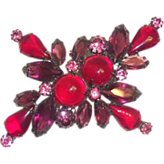 Lovely & Unique Designed Red, Purple & Pink Glass Cabochon & Rhinestone Pin