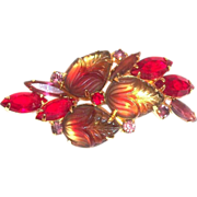 Lovely  Red & Purple Marquis Rhinestones & Light Amber Givre Molded Glass Floral Pin