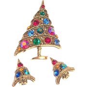 Weiss Borealis Rhinestone Christmas Tree Pin & Earrings