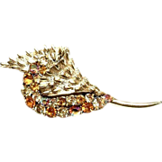 Coro  Gold Tone Conch Shell Design Pin With Amber & Clear Rhinestones