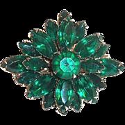 Lovely Dark Emerald Green Marquis Glass Rhinestone Pin