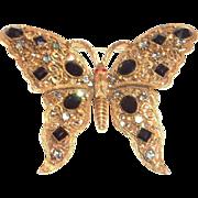 SALE Florenza Black Glass Rhinestone & Filigree Butterfly Brooch/Pin