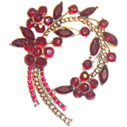 SALE Lovely Ruby Red Rhinestone & Marquis Floral, Leaf & Stem Design Pin