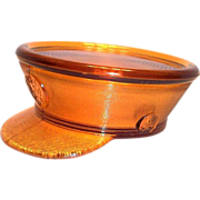 Amber Glass General's Military Hat Candy Container