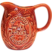 Rustic Red Advertising Antique Bourbon Ceramic Pitcher