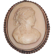 SALE Lovely Carved Lava Cameo Pin - 1800's