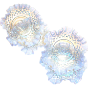 Fenton White Opalescent Hobnail Frilly Trim Dessert Bowl