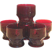 Anchor Hocking Ruby Red Georgian Honeycomb Glass