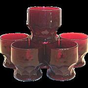 Anchor Hocking Ruby Red Georgian Honeycomb Glass