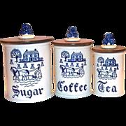 SALE Metlox Poppytrail Blue Provincial 3 Pc Porcelain Canister Set