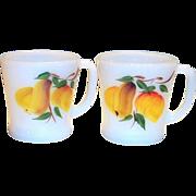 Anchor Hocking: Fire King: Gay Fad Pear Design White Glass Mug