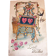 Vintage 1908 Best Wishes Valentine Postcard
