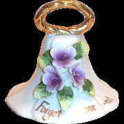 Enesco: White Porcelain Bell & For-Get-Me-Not Lavender Flowers Bell