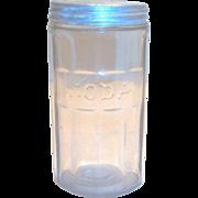 Vintage Hoosier Crystal Embossed Soda Jar With Original Tin Lid