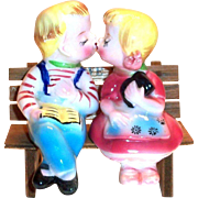 Vintage 3 Piece Hand Painted Porcelain Novelty Boy & Girl Sitting On Bench Salt & Pepper Set