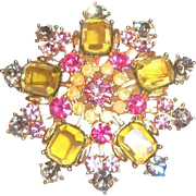 Vintage Floral Shaped Multicolored Glass Rhinestone on Gold Tone Pin