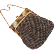 Vintage Whiting & Davis Black & Goldtone Mesh Purse