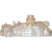 Vintage Glass Fire Engine Candy Holder