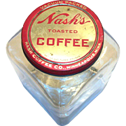 Nash's Toasted Coffee Large Glass Jar & Tin Lid