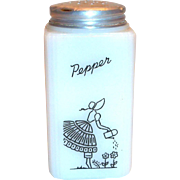 Tipp Novelty Co. Watering Can Lady Design White Glass Pepper Shaker