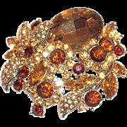 Larger Brown Glass Rhinestone & Dark Brown Rhinestone Floral Design Pin/Pendant