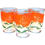 Vintage Orange & Leaf Design Orange Juice Glass