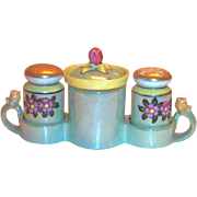 Vintage 5 Pc Green Lustreware Porcelain Condiment Set