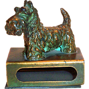 Vintage Brass Scotty Dog Matchbox Holder