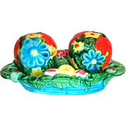 Hand Painted & Brightly Colored Porcelain Floral & Fruit Design 3 Pc Salt, Pepper & Tray Set