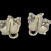 SALE Coro Cream Colored on Gold Tone Leaf Earrings