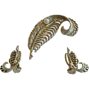 SALE Marboux Goldtone Leaf Pin and Earrings