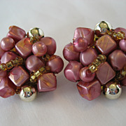 SALE PENDING Pink, Amber, and Goldtone Clip Earrings