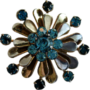 SALE Small Silvertone Pin with Turquoise Blue Stones