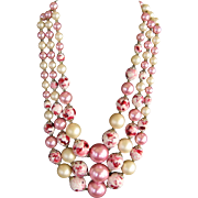 SALE Cream and Variegated Pink 3 Strand Bib Necklace - Japan