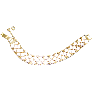 White Enamel on Gold Tone Bracelet