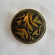 SALE Damascene Round Pin/Brooch