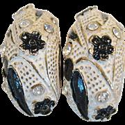 BSK Black and White Clip Earrings